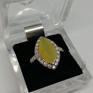 Yellow Glass Marquise CZ Sterling Silver Ring